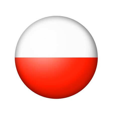 matte: The Polish flag. Round matte icon. Isolated on white background. Stock Photo