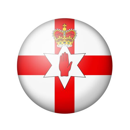 ulster: Flag of Northern Ireland. Round matte icon. Isolated on white background. Stock Photo