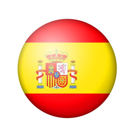 matte: The Spanish flag. Round matte icon. Isolated on white background.
