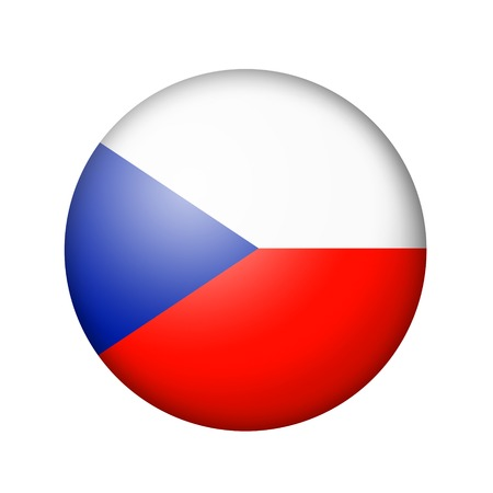 matte: The Czech flag. Round matte icon. Isolated on white background.