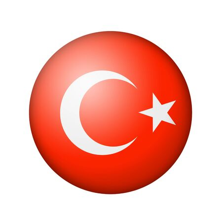 turkish flag: The Turkish flag. Round matte icon. Isolated on white background. Stock Photo