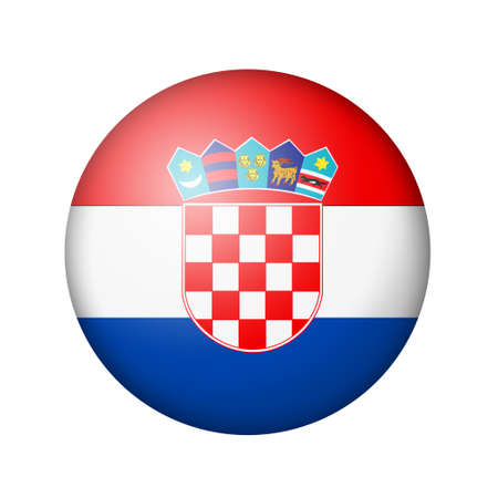 matte: The Croatian flag. Round matte icon. Isolated on white background.