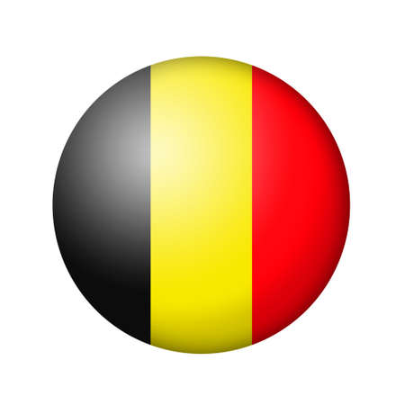 matte: The Belgian flag. Round matte icon. Isolated on white background.