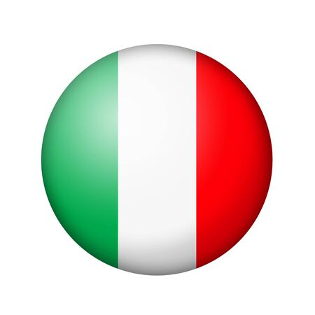 matte: The Italian flag. Round matte icon. Isolated on white background.