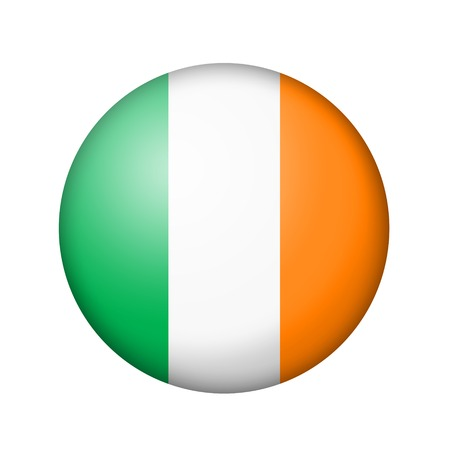 matte: The irish flag. Round matte icon. Isolated on white background.