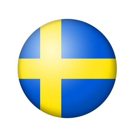 swedish: The Swedish flag. Round matte icon. Isolated on white background. Stock Photo