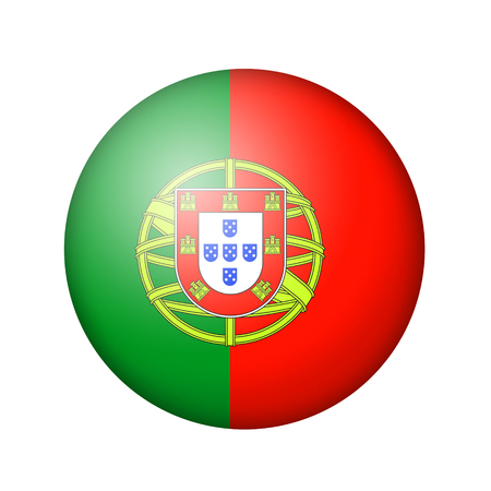 matte: The Portuguese flag. Round matte icon. Isolated on white background.