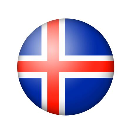 matte: The Icelandic flag. Round matte icon. Isolated on white background.