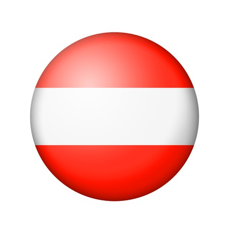 matte: The Austrian flag. Round matte icon. Isolated on white background. Stock Photo