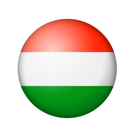matte: The Hungarian flag. Round matte icon. Isolated on white background.