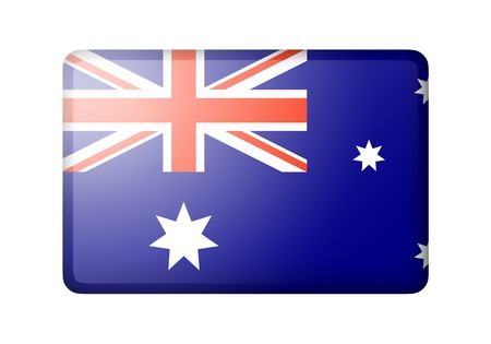 matte: The Australian flag. Rectangular matte icon. Isolated on white background.