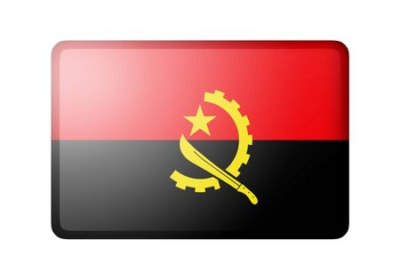 matte: The Angolan flag. Rectangular matte icon. Isolated on white background.