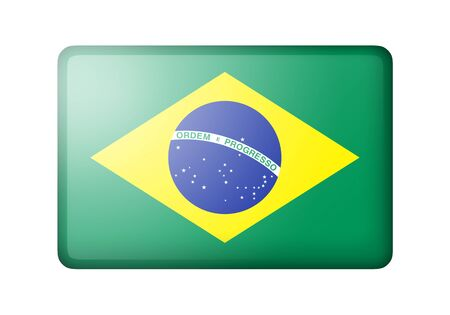 brazilian flag: The Brazilian flag. Rectangular matte icon. Isolated on white background.