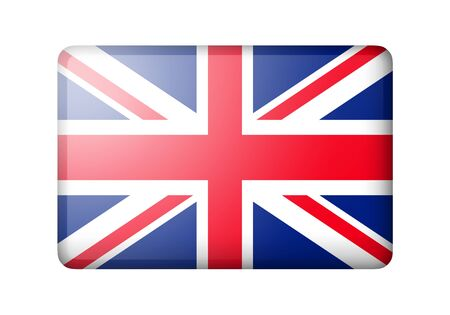 matte: The British flag. Rectangular matte icon. Isolated on white background.