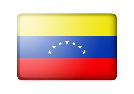 venezuelan: The Venezuelan flag. Rectangular matte icon. Isolated on white background.
