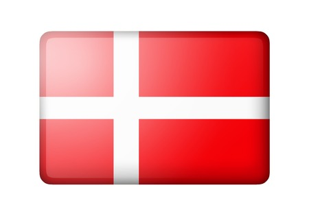danish flag: The Danish flag. Rectangular matte icon. Isolated on white background.