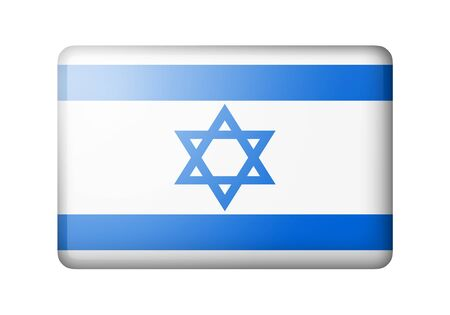 matte: The Israeli flag. Rectangular matte icon. Isolated on white background. Stock Photo