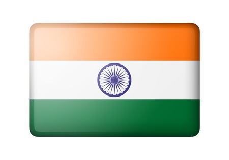 matte: The Indian flag. Rectangular matte icon. Isolated on white background.