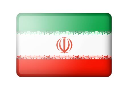 matte: The Iranian flag. Rectangular matte icon. Isolated on white background. Stock Photo