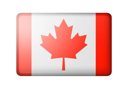 canadian icon: The Canadian flag. Rectangular matte icon. Isolated on white background.