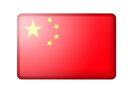 matte: The Chinese flag. Rectangular matte icon. Isolated on white background.