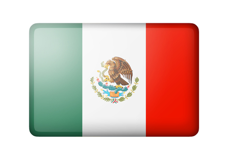 mexican flag: The Mexican flag. Rectangular matte icon. Isolated on white background. Stock Photo
