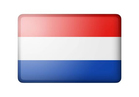matte: The Netherlands flag. Rectangular matte icon. Isolated on white background. Stock Photo