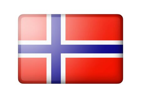 matte: The Norwegian flag. Rectangular matte icon. Isolated on white background.