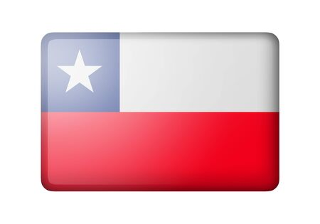 matte: The Chile flag. Rectangular matte icon. Isolated on white background. Stock Photo
