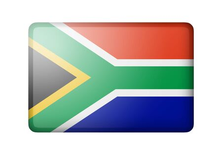 matte: The Republic of South Africa flag. Rectangular matte icon. Isolated on white background.