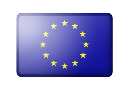 matte: The European Union Flag. Rectangular matte icon. Isolated on white background. Stock Photo