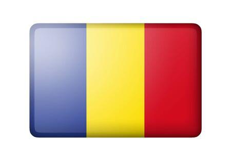romania flag: The Romania flag. Rectangular matte icon. Isolated on white background.