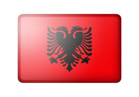 matte: The Albanian flag. Rectangular matte icon. Isolated on white background.