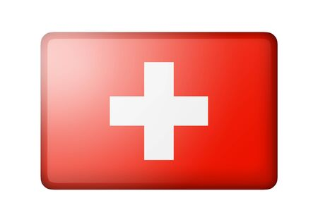 matte: The Swiss flag. Rectangular matte icon. Isolated on white background.