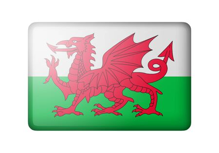 matte: Flag of Wales. Rectangular matte icon. Isolated on white background.