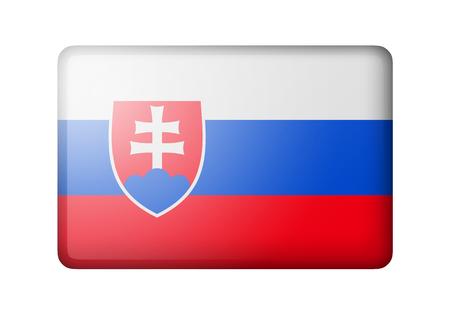 The Slovakia flag. Rectangular matte icon. Isolated on white background.