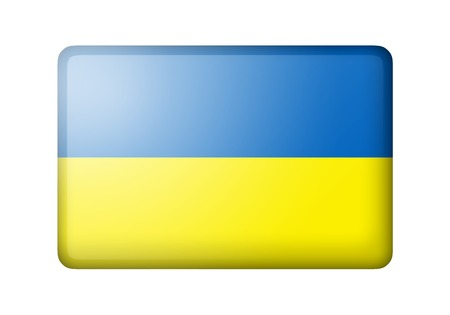 matte: The Ukrainian flag. Rectangular matte icon. Isolated on white background. Stock Photo