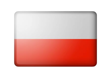 matte: The Polish flag. Rectangular matte icon. Isolated on white background.