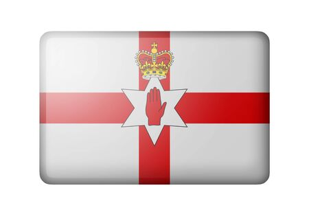 ulster: Flag of Northern Ireland. Rectangular matte icon. Isolated on white background.