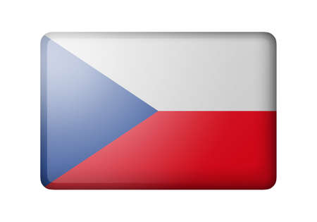 matte: The Czech flag. Rectangular matte icon. Isolated on white background.