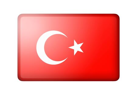 matte: The Turkish flag. Rectangular matte icon. Isolated on white background. Stock Photo