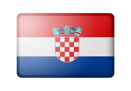 matte: The Croatian flag. Rectangular matte icon. Isolated on white background. Stock Photo