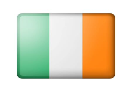 matte: The irish flag. Rectangular matte icon. Isolated on white background.