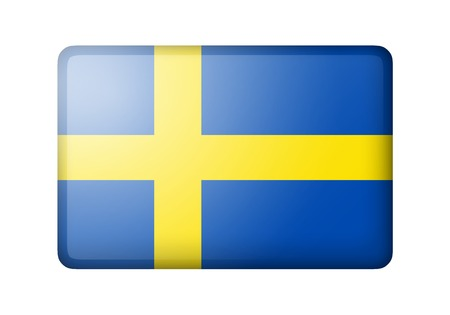 matte: The Swedish flag. Rectangular matte icon. Isolated on white background.
