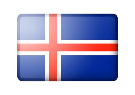 matte: The Icelandic flag. Rectangular matte icon. Isolated on white background.