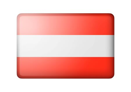 austrian: The Austrian flag. Rectangular matte icon. Isolated on white background. Stock Photo
