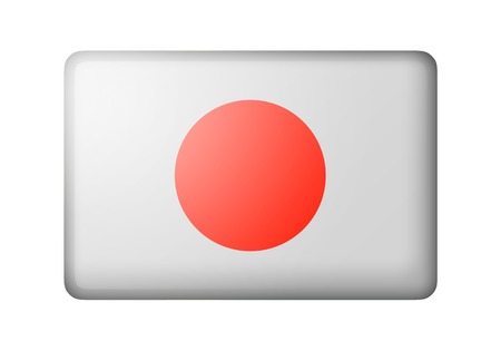 rectangular: The Japan flag. Rectangular matte icon. Isolated on white background.