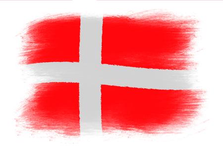 danish flag: The Danish flag - Painted grunge flag, brush strokes. Isolated on white background. Stock Photo