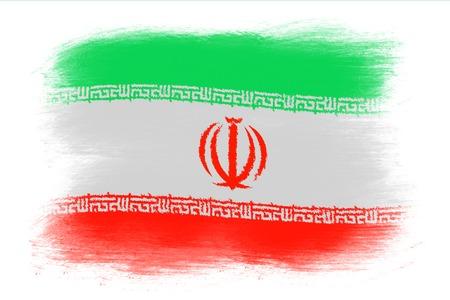 iranian: The Iranian flag - Painted grunge flag, brush strokes. Isolated on white background.