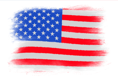 black american: The USA flag - Painted grunge flag, brush strokes. Isolated on white background.